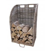 Grey & Buff Rattan Wicker Log Basket | Trolley