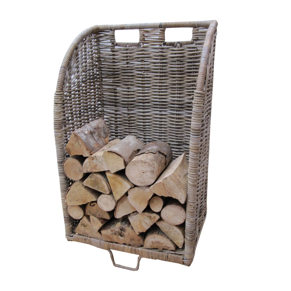 Grey Buff Rattan Wicker Log Basket Trolley