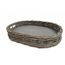 Grey & Buff Rattan Wicker Oval Tray