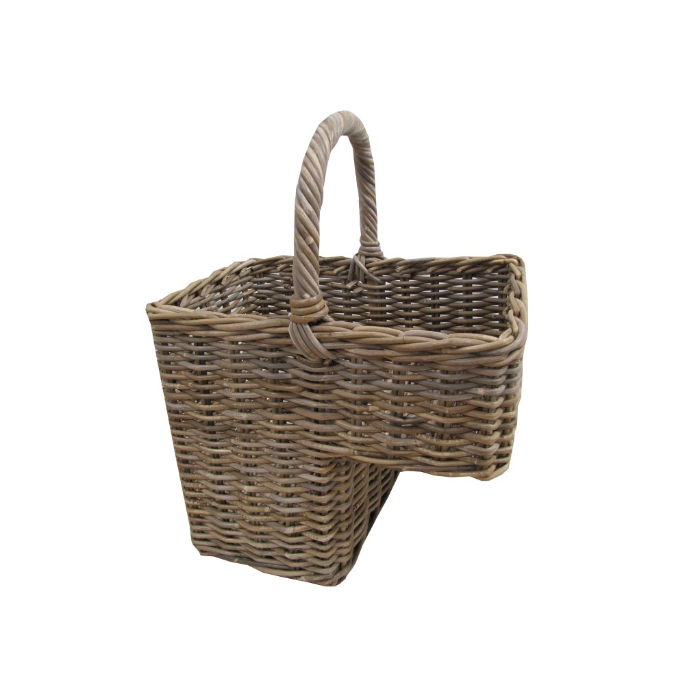 Woven Basket For Stairs : Grey Buff Rattan Stair Basket