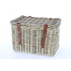 Grey & Buff Rattan Wicker Storage Trunk | Chest with Straps and Buckles