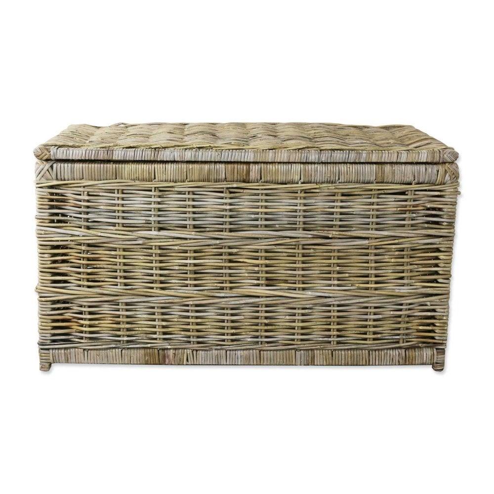 Grey Buff Rattan Wicker Storage Trunk The Basket Company