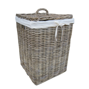 Grey buff square rattan laundry basket - Cane laundry hamper ...