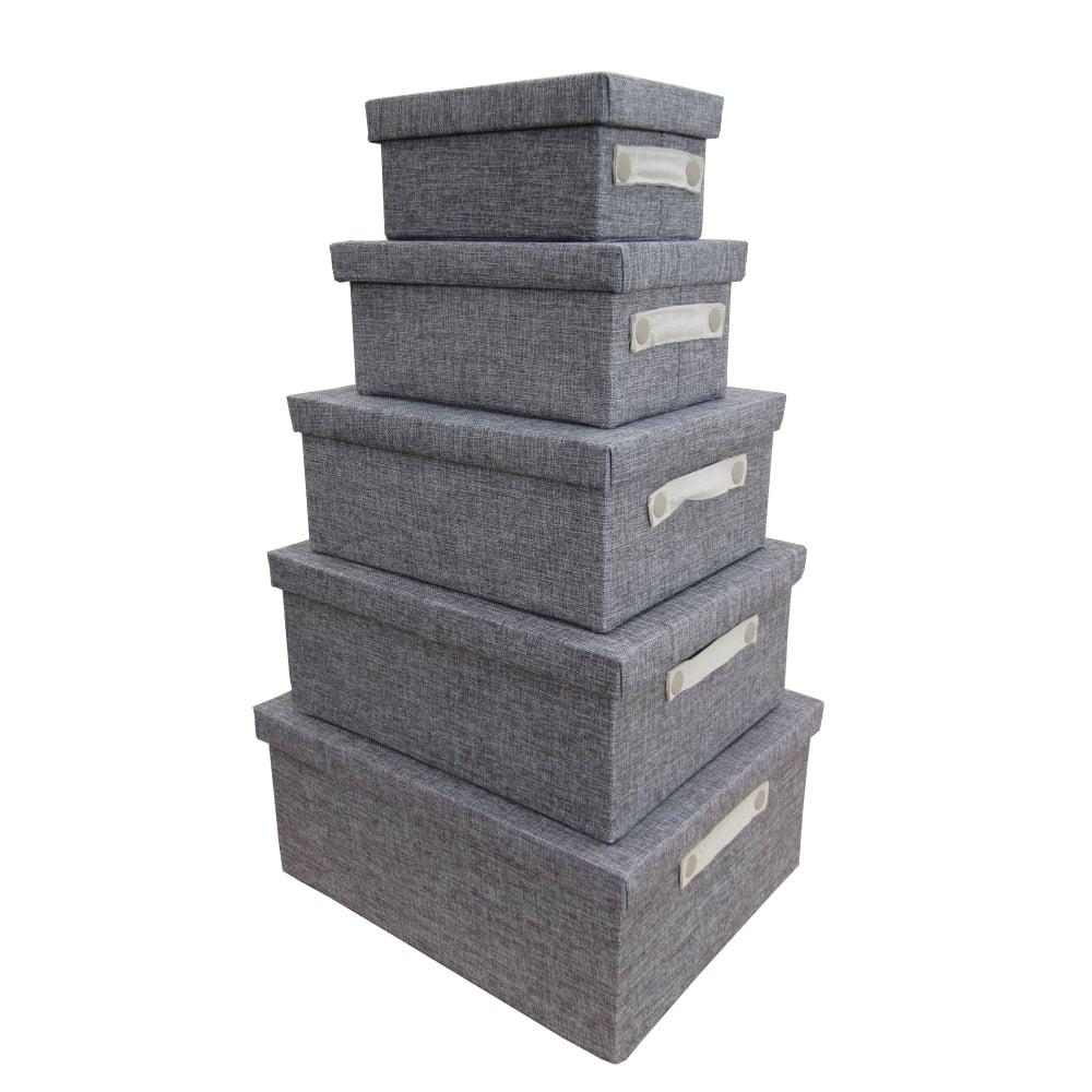 Buy Grey Linen Rectangular Storage Box With Lid