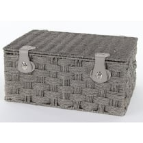Grey Paper Rope Rectangular Lidded Storage Basket Hamper