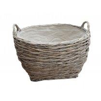 Grey Wash Birds Nest Round Wicker Log | Storage Basket | Lined
