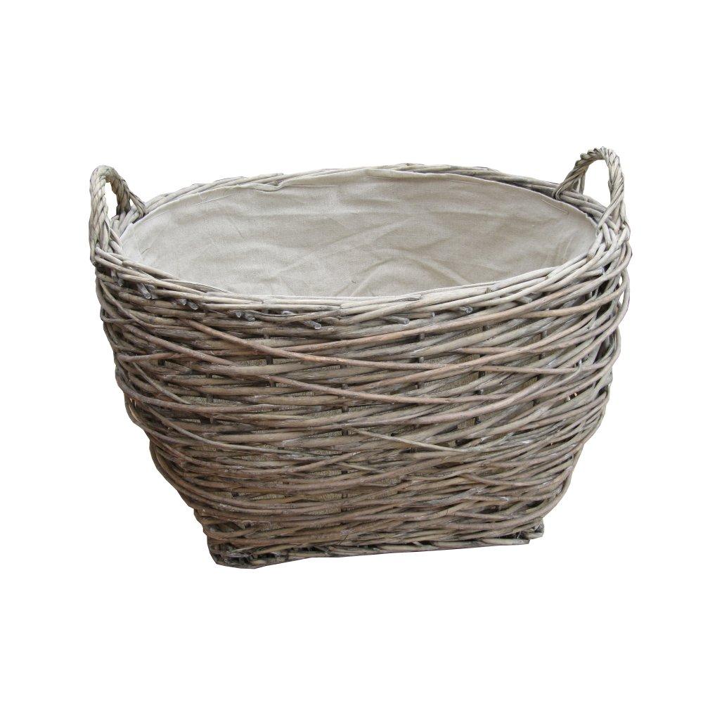 Buy Coniston Wicker Storage Basket: Buy Grey Wash Birds Nest Wicker Log Basket From The Basket