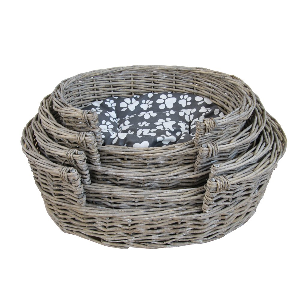 Buy Grasmere Grey Wash Wicker Storage Basket From The: Buy Grey Wash Oval Wicker Pet Basket Online From The