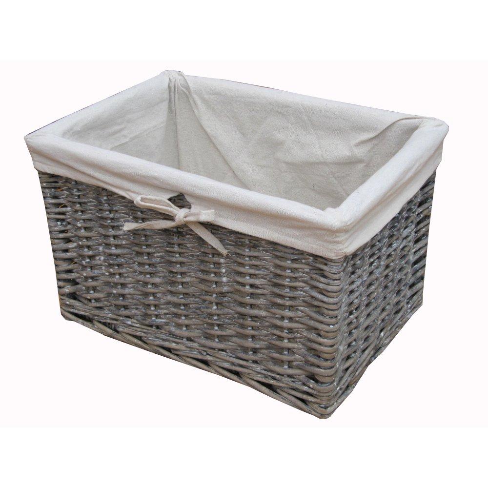 Soft Rush Lidded Rectangular Lined Storage Basket: Grey Wash Wicker Storage Basket