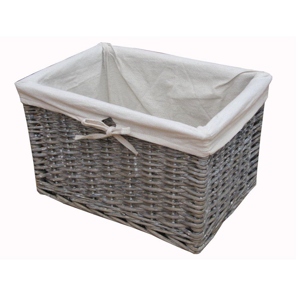 Charmant Grey Wash Rectangular Deep Wicker Storage Basket   Lined