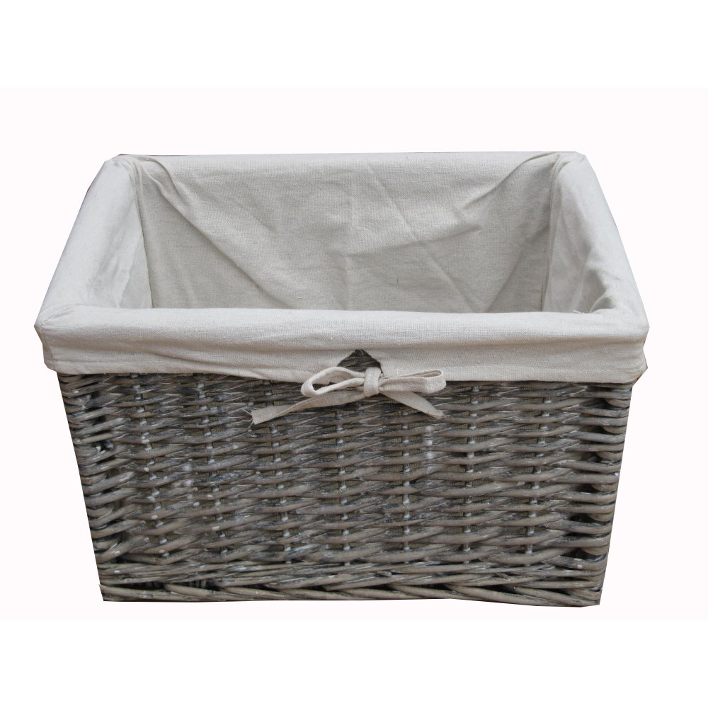 Grey Wash Wicker Storage Basket