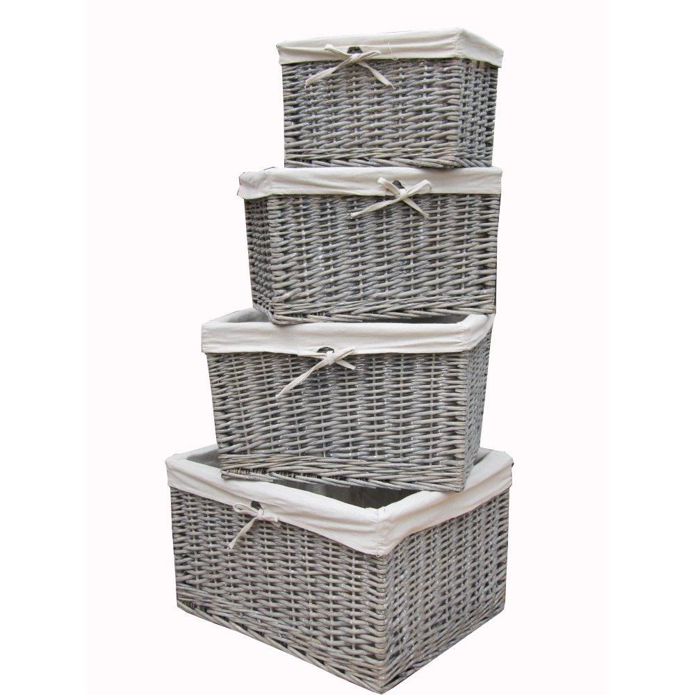 Small Grey Wash Wicker Storage Basket: Grey Wash Wicker Storage Basket