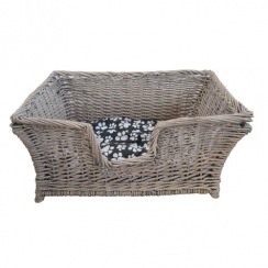 Grey Wash Rectangular Wicker Pet Basket