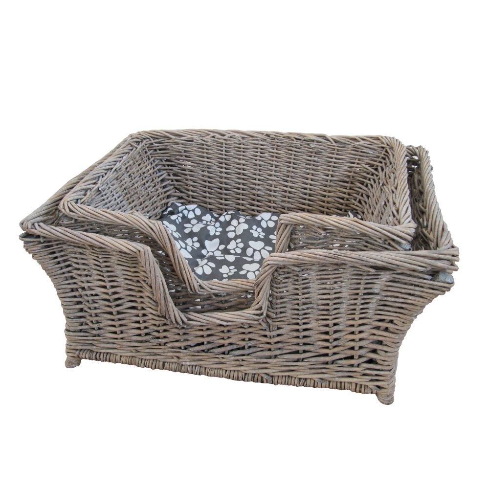 Grey Wash Wicker Storage Basket: Buy Grey Wash Rectangular Wicker Pet Basket From The