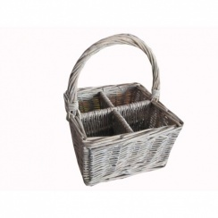 Grey Wash Wicker Cutlery Basket | Condiment Basket