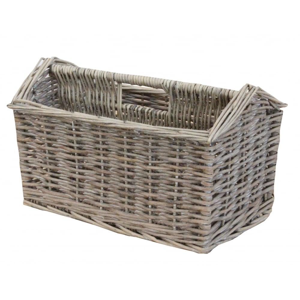 Grey Wash Wicker Storage Basket: Grey Wash Wicker Magazine Holder Basket