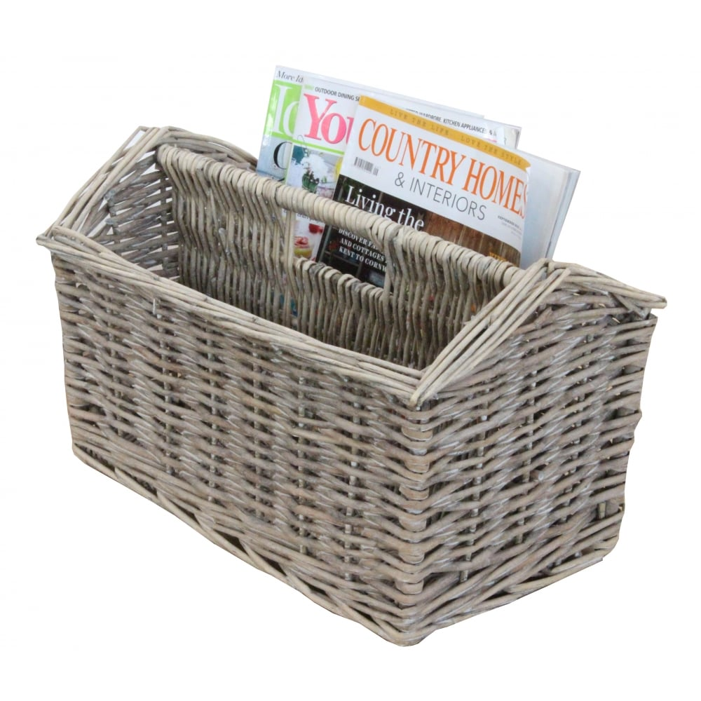 Small Grey Wash Wicker Storage Basket: Grey Wash Wicker Magazine Holder Basket
