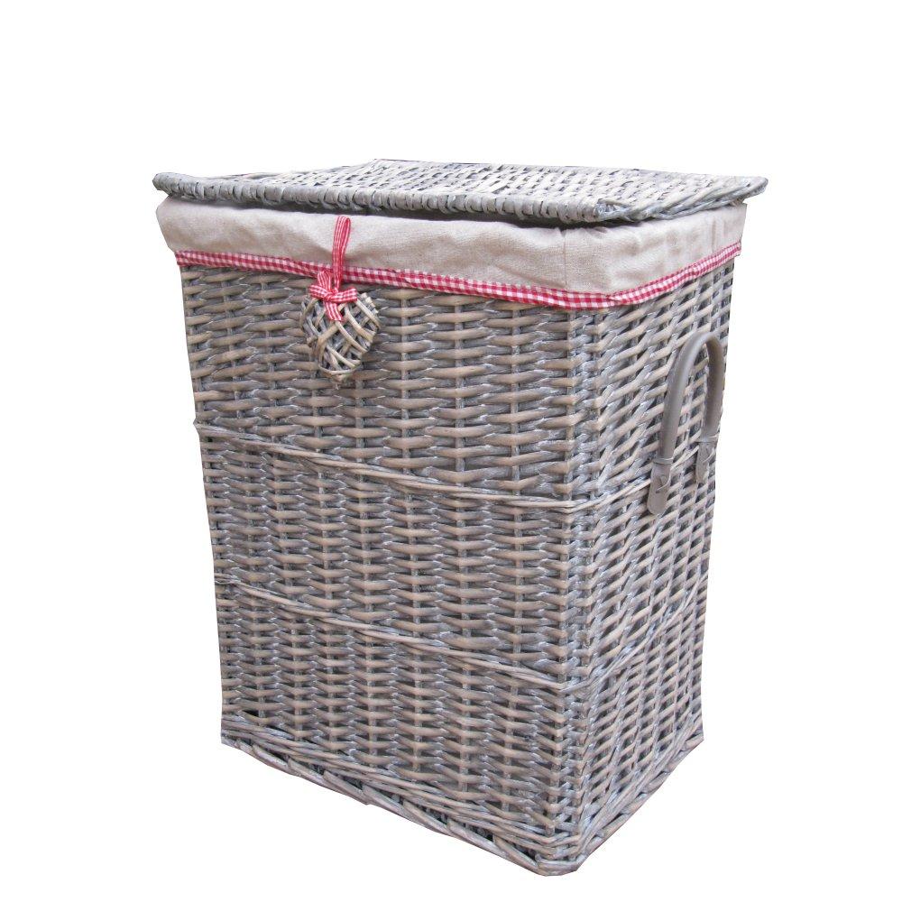 Small Grey Wash Wicker Storage Basket: Buy Grey Wicker Laundry Basket With Wicker Heart