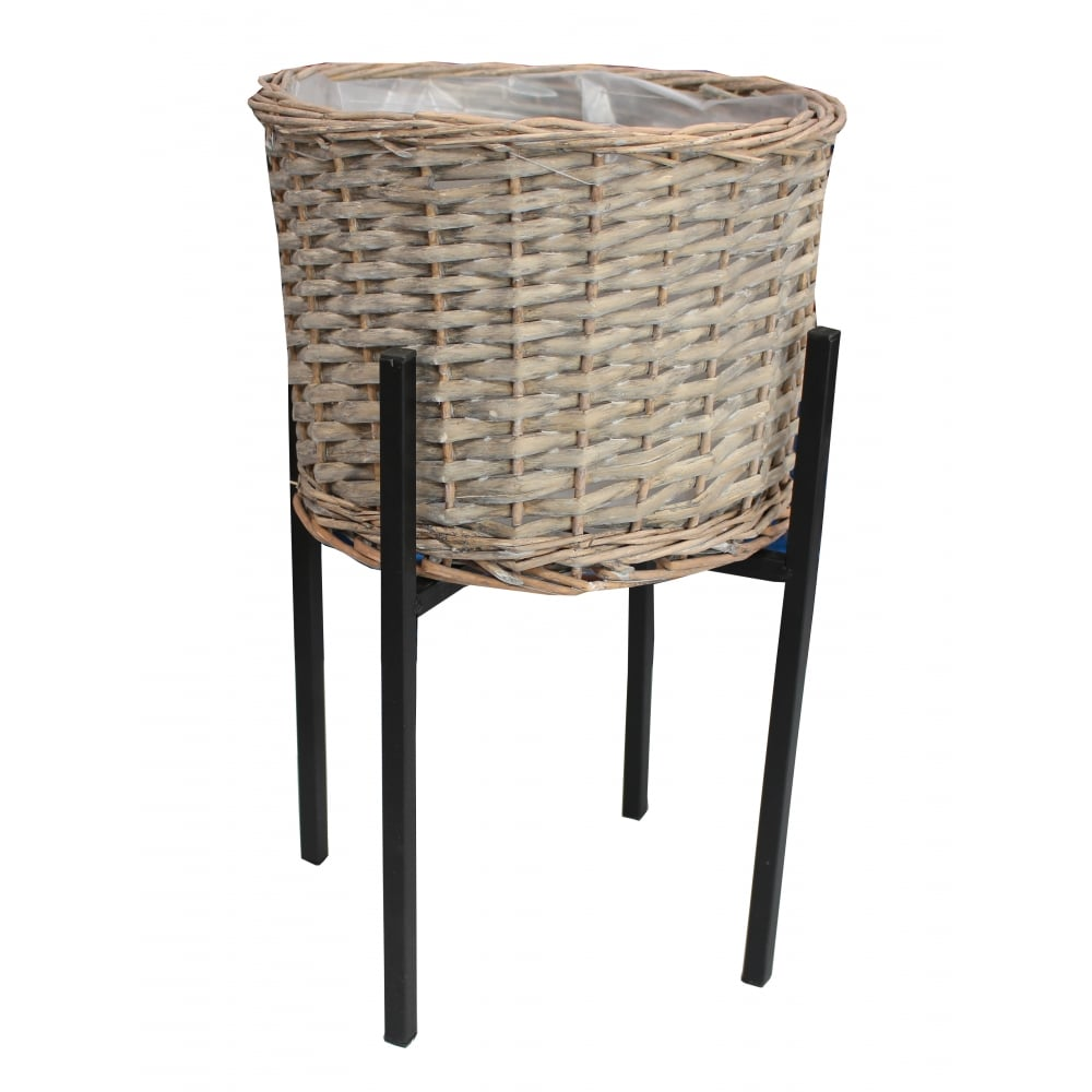 Grey wash wicker round planter and stand for Wicker stands bathrooms
