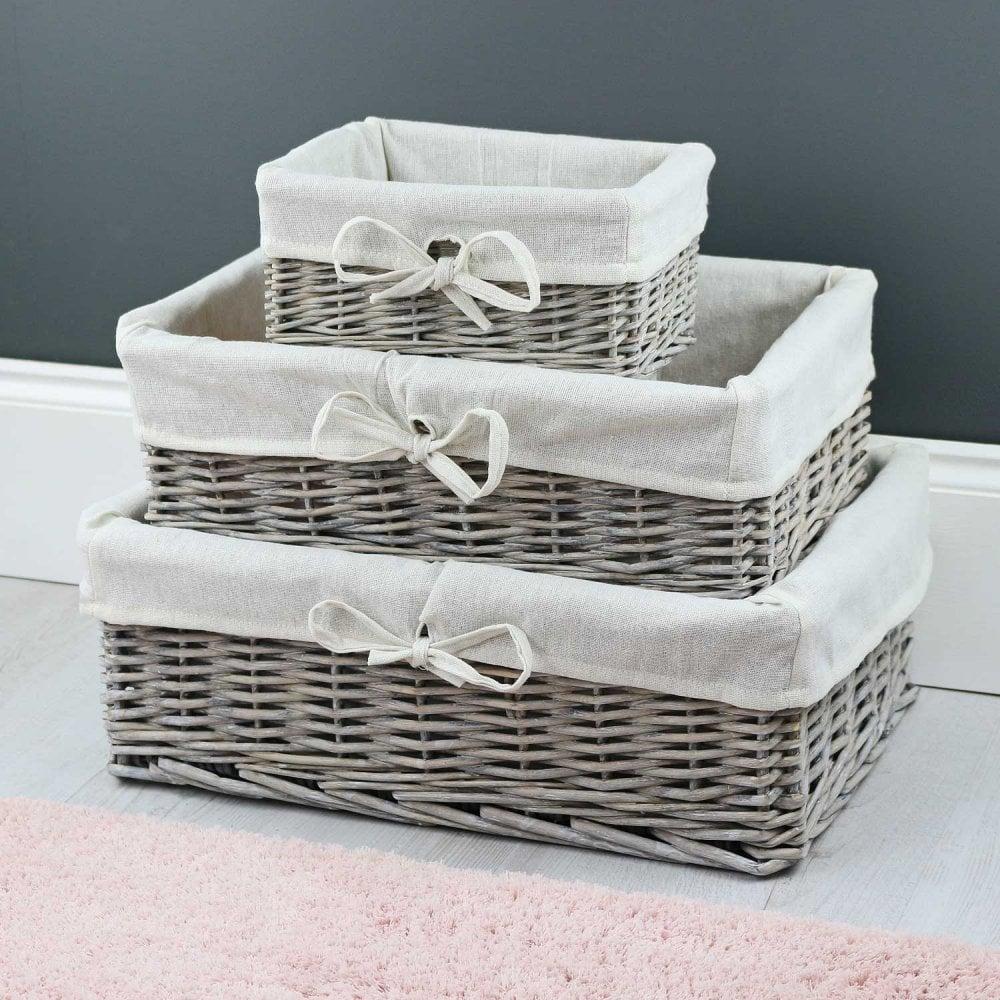 Grey Wash Wicker Shallow Storage Basket Lined