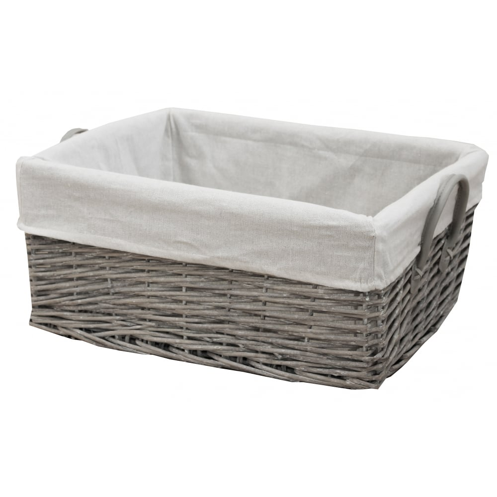 Grey Wash Wicker Storage Basket With Handles