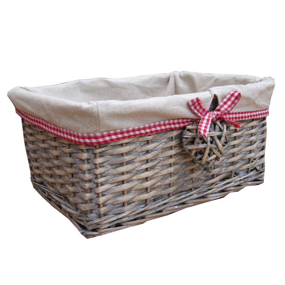 Grey Wash Wicker Storage Basket: Buy Grey Wash Wicker Storage Basket With Willow Heart Feature