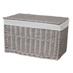Grey Wash Wicker Storage Trunk Basket