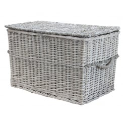 Grey Wash Wicker Storage Trunk / Chest