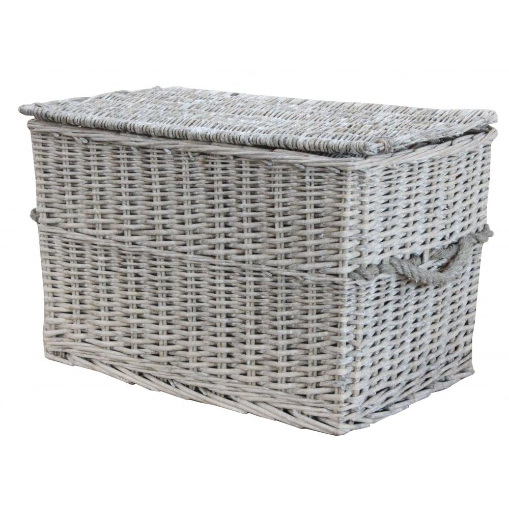 Soft Rush Lidded Rectangular Lined Storage Basket: Grey Wash Wicker Storage Trunk / Chest
