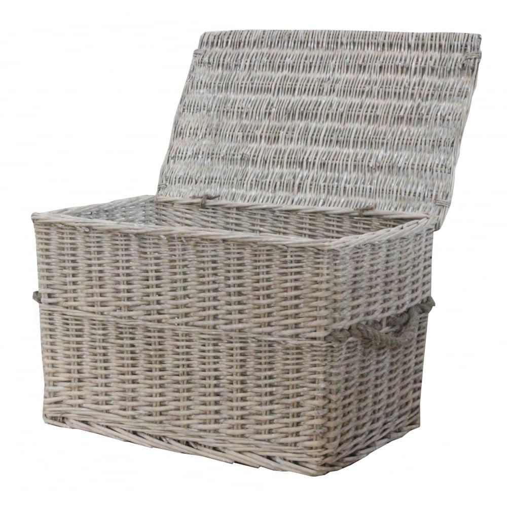Small Grey Wash Wicker Storage Basket: Grey Wash Wicker Storage Trunk / Chest