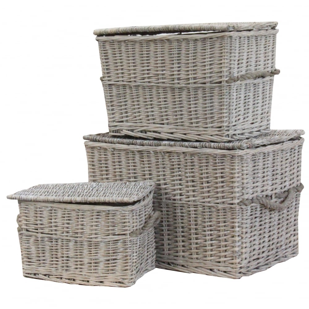 Grey Wash Wicker Storage Basket: Grey Wash Wicker Storage Trunk / Chest