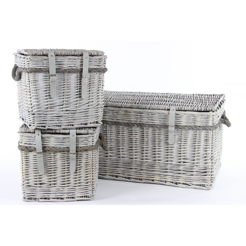 Grey Wash Wicker Storage Trunk With Rope Handles