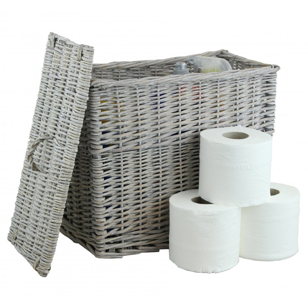 Grey Wash Wicker Toilet Roll Basket Holder