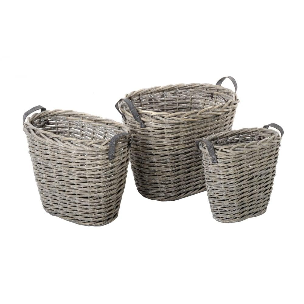 Grey Wash Wicker Storage Basket: Grey Wash Willow Oval Log Basket