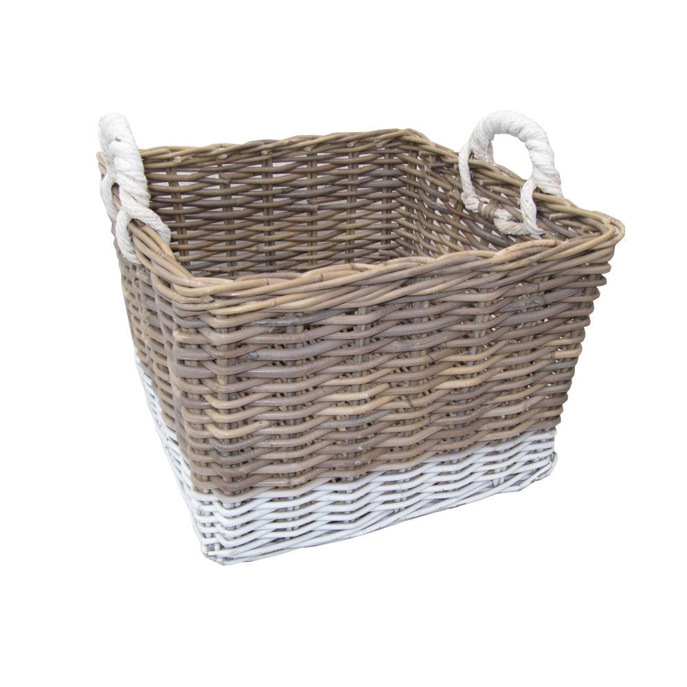 Grey Wicker Basket Uk : Buy grey white kubu square storage basket from the
