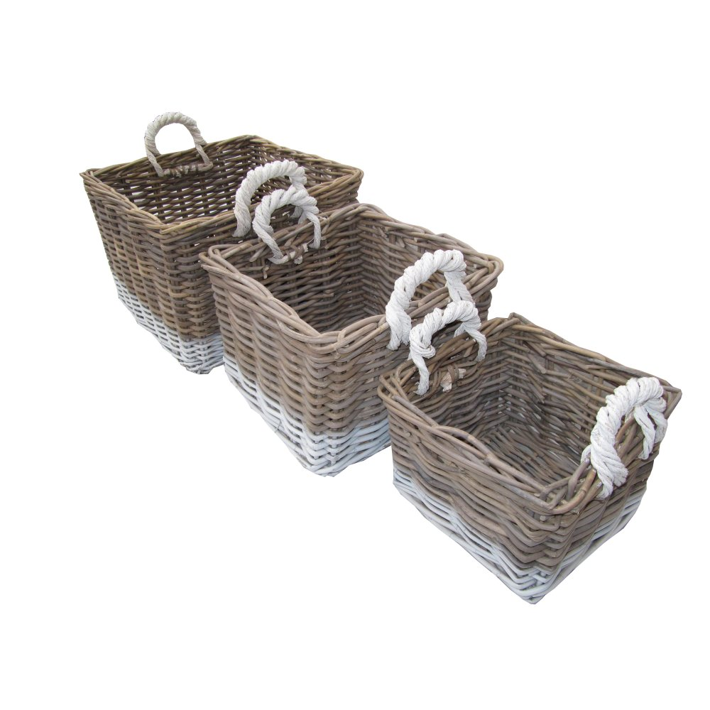 Grey Wash Wicker Storage Basket: Buy Grey & White Kubu Square Storage Basket From The