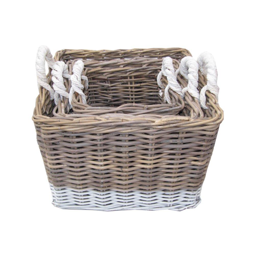Buy Grey & White Kubu Square Storage Basket From The