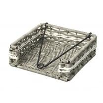 Grey & White Polywicker Napkin Holder Basket