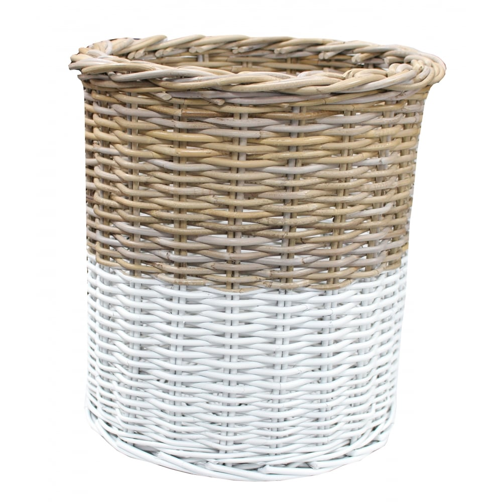 Grey Amp White Rattan Tall Round Storage Basket