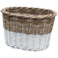Grey & White Rattan Wicker Oval Storage Floor Basket