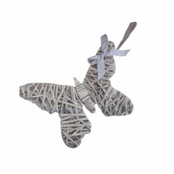 Grey Wicker Butterfly Decorations With Beige Check Ribbon