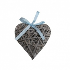 Grey Wicker Heart With Blue Ribbon
