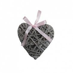 Grey Wicker Heart With Pink Ribbon