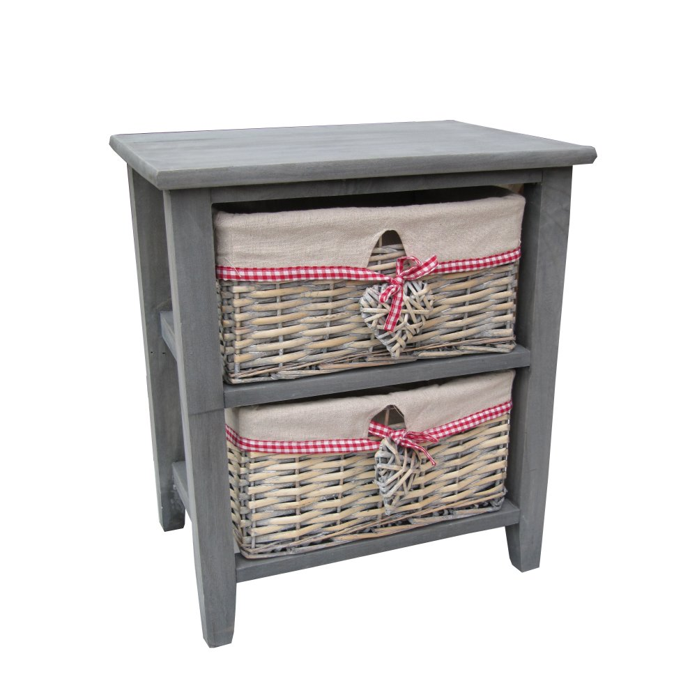 Grey Wooden Bedside Table With 2 Wash Wicker Storage Baskets