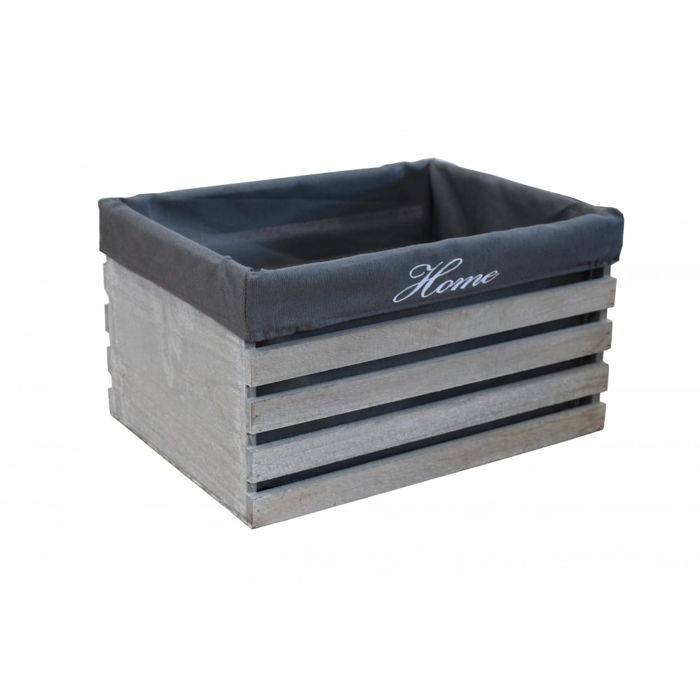 Grey Wooden Crate Storage Box Lined