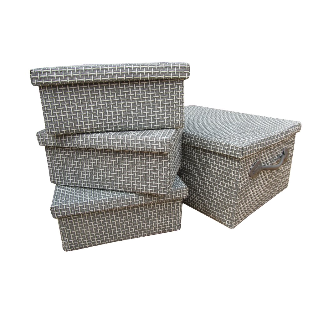 Buy Grey Woven Paper Rectangular Storage Boxes From The