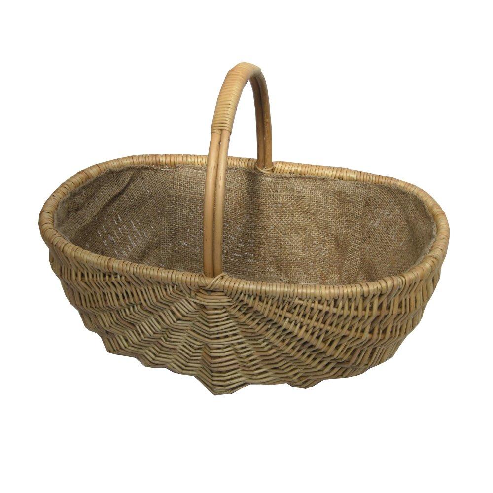 Heathfield Wicker Trug Basket - Hessian Lined