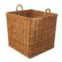 Honey Rattan Square Wicker Log Basket