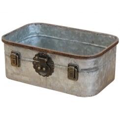 Industrial Chic Metal Rectangular Storage Tin
