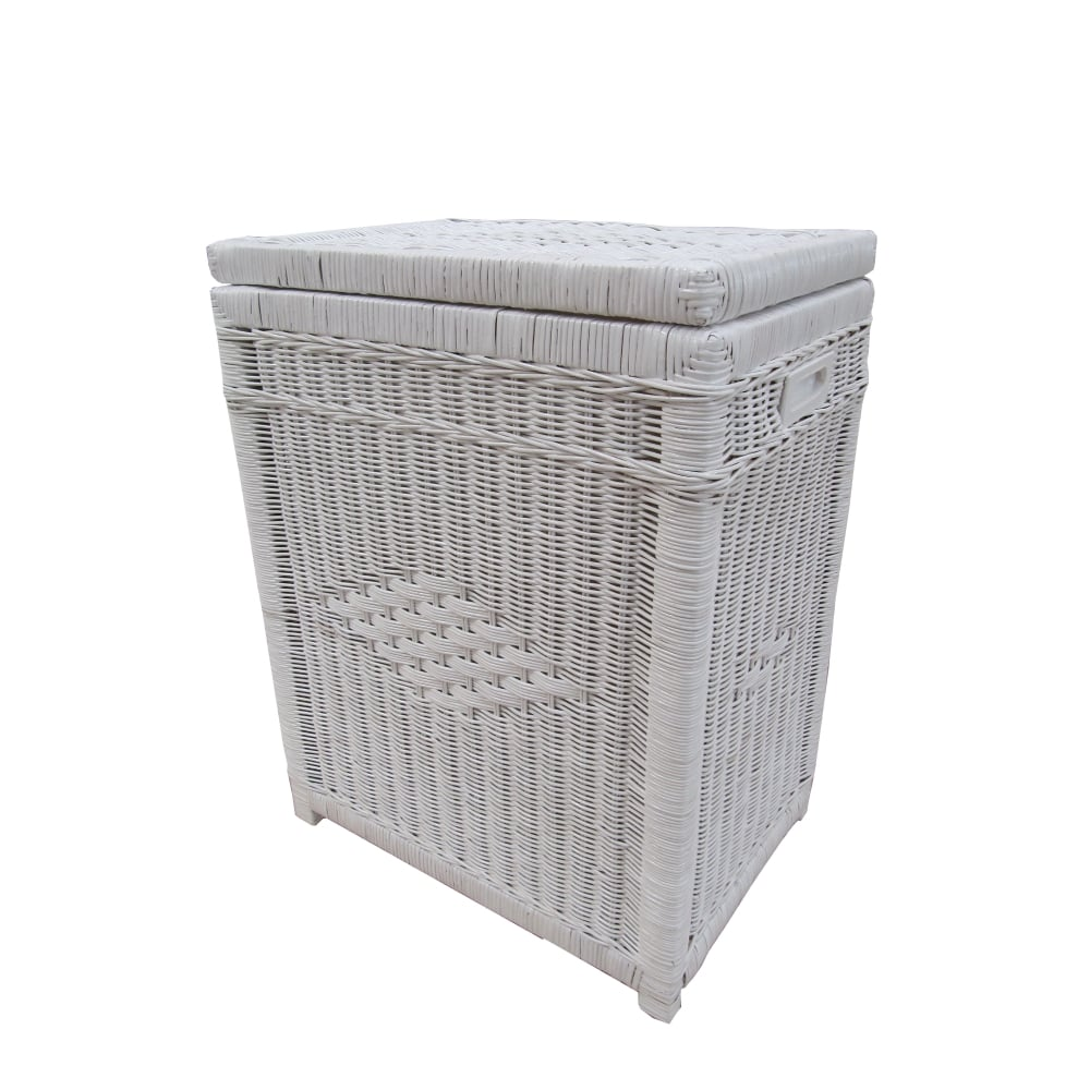 Kensington rectangular wicker laundry basket white White wicker washing basket